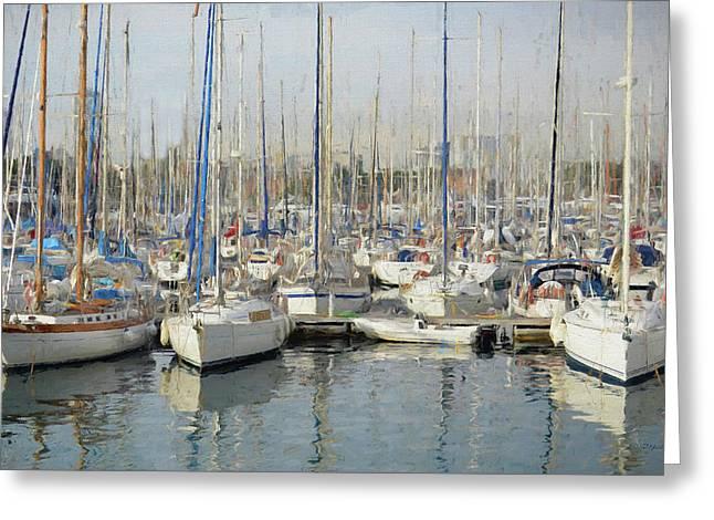Sailboats At The Dock - Painting Greeting Card