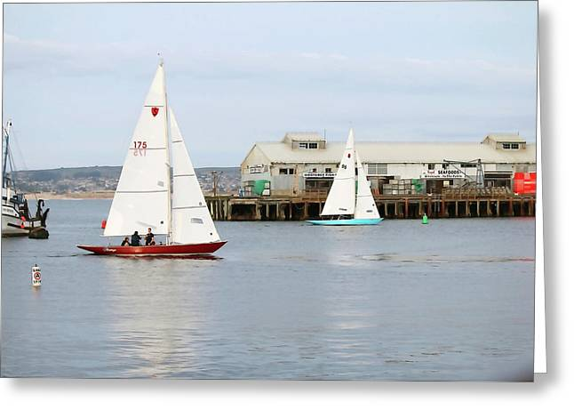 Sailboats At Wharf II Greeting Card by Art Block Collections