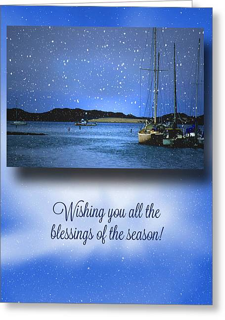 Sailboats Christmas Greeting Card by Stephanie Laird