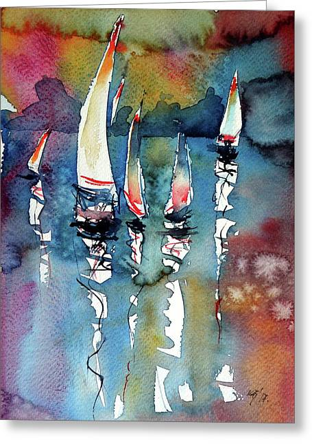 Greeting Card featuring the painting Sailboats II by Kovacs Anna Brigitta