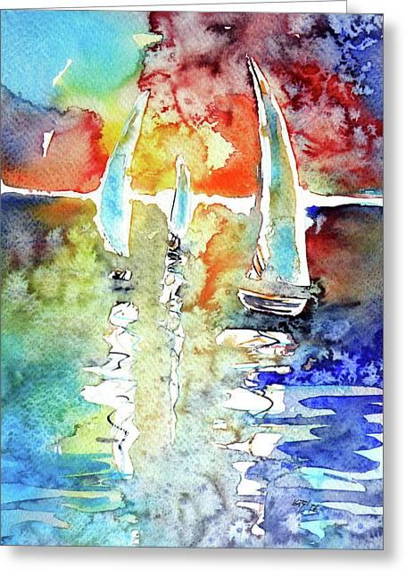 Sailboats In Light Greeting Card by Kovacs Anna Brigitta