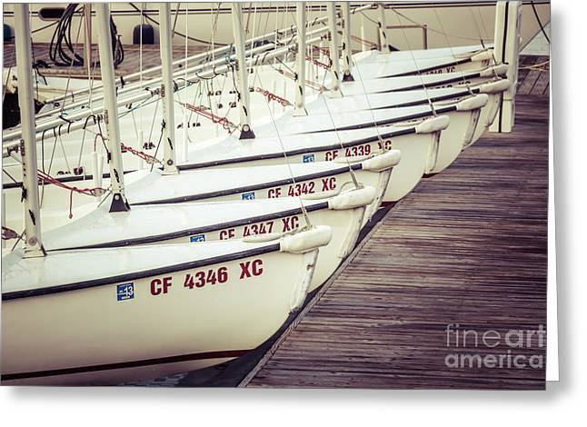 Sailboats In Newport Beach Retro Picture Greeting Card