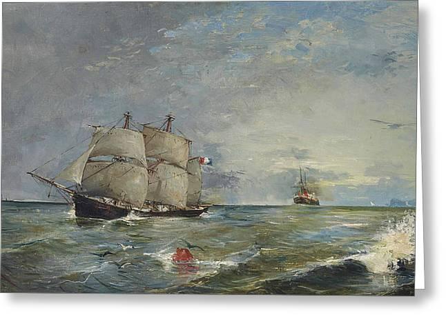 Sailboats In The Sea Greeting Card by Joaquin Sorolla