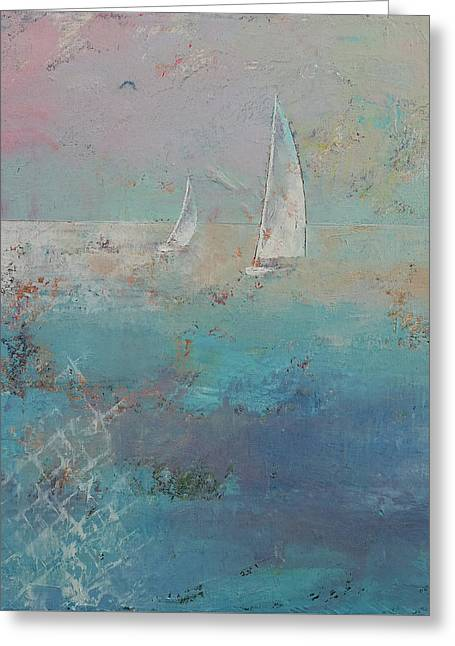 Sailboats Greeting Card by Michael Creese