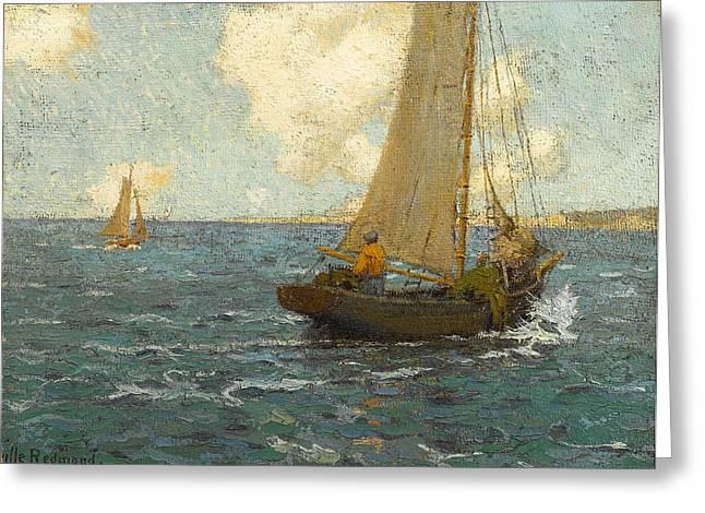 Sailboats On Calm Seas Greeting Card