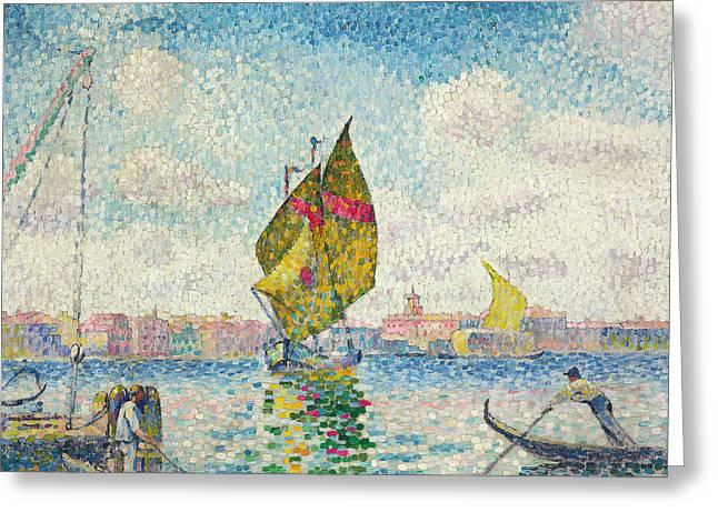 Sailboats On Giudecca Or Venice, Marine Greeting Card by Henri-Edmond Cross