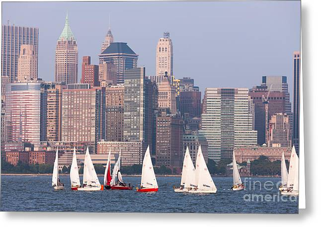 Sailboats On The Hudson II Greeting Card by Clarence Holmes