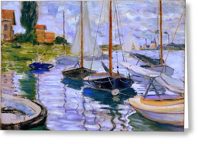 Sailboats On The Seine At Petit Gennevilliers Claude Monet 1874 Greeting Card