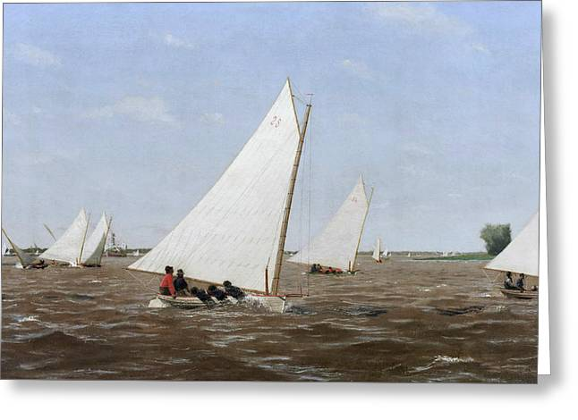 Sailboats Racing On The Delaware Greeting Card by Thomas Eakins