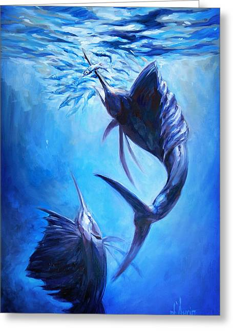 Sailfish And Ballyhoo Greeting Card by Tom Dauria