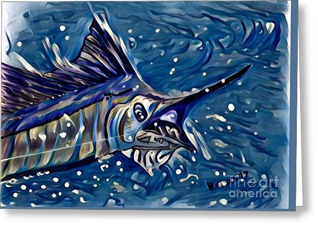 Sailfish Hookup - Coastal Blue Greeting Card