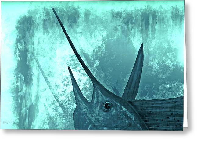 Sailfish In The Mist Greeting Card by Ken Figurski
