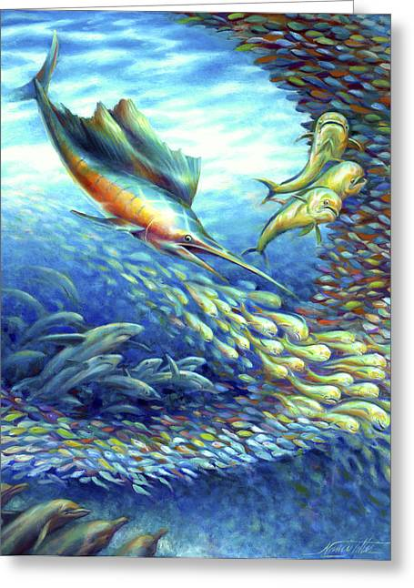 Sailfish Plunders Baitball II - Sharks And Dolphin Fish Greeting Card by Nancy Tilles