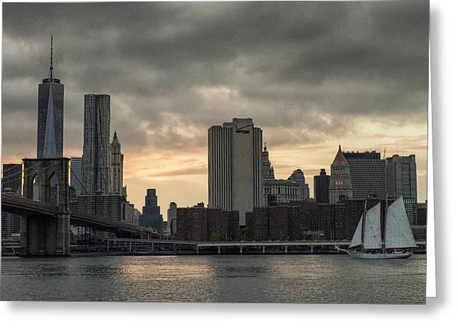 Sailin' The East River Greeting Card