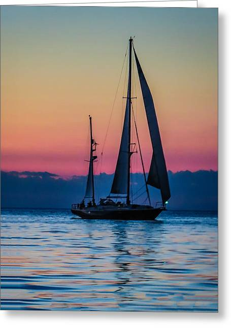 Sailing After Sunset Greeting Card