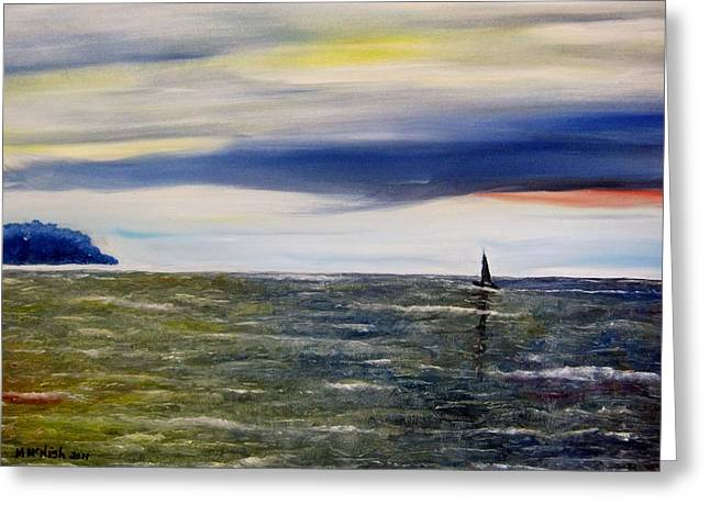 Greeting Card featuring the painting Sailing At Dusk by Marilyn  McNish