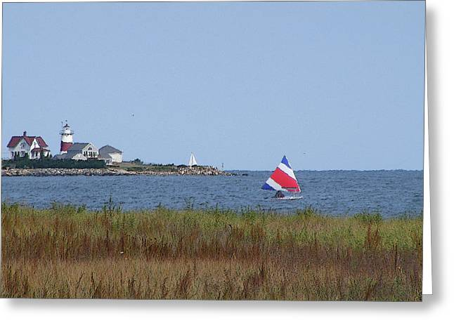 Sailing At Stratford Lighthouse Greeting Card by Margie Avellino
