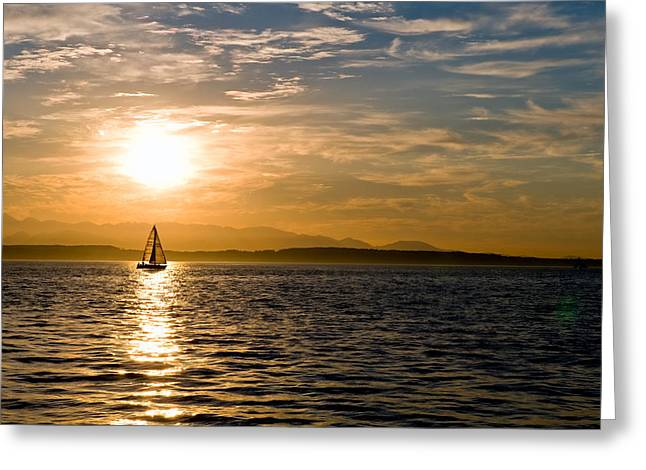 Sailing At Sunset Greeting Card by Tom Dowd