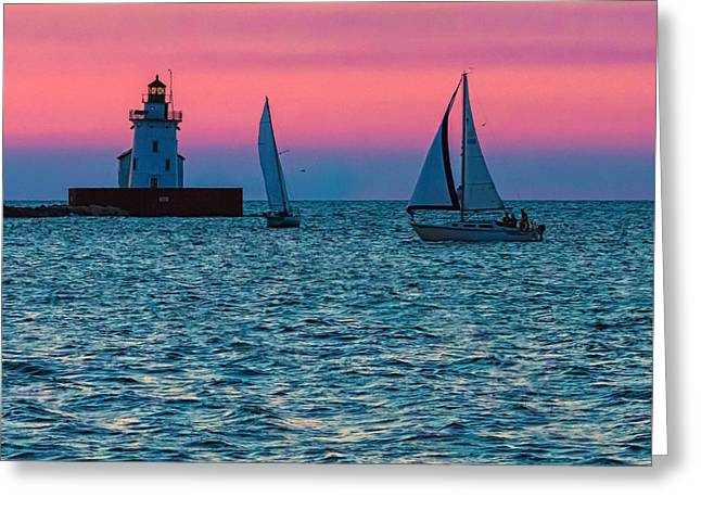 Sailing At The Cleveland Lighthouse  Greeting Card