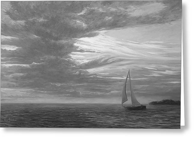 Sailing Away - Black And White Greeting Card by Lucie Bilodeau