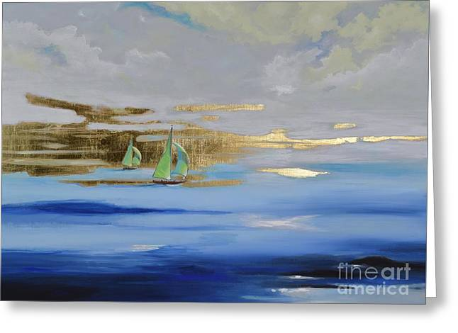 Greeting Card featuring the painting Sailing Away by Mary Scott