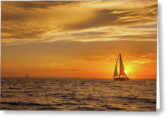 Sailing Away Two Greeting Card by Steve Spiliotopoulos