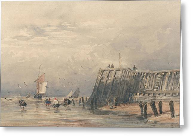 Sailing Barges And Shrimpers Off A Pier Greeting Card