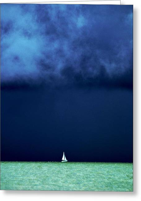 Perfect Storm Greeting Cards - Sailing Beneath the Storm Greeting Card by Vicki Jauron