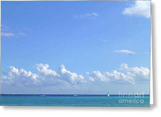Greeting Card featuring the photograph Sailing Blue Seas by Francesca Mackenney
