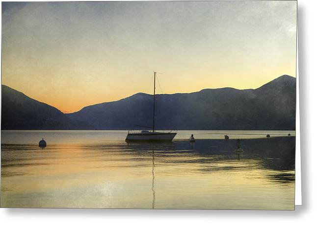 Sailing Boat In The Sunset Greeting Card