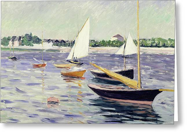 Yachting Greeting Cards - Sailing Boats at Argenteuil Greeting Card by Gustave Caillebotte
