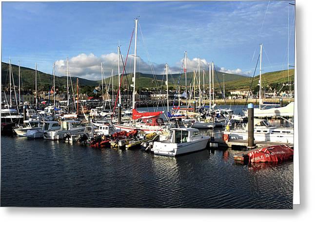 Sailing Boats At Dingle Harbour Greeting Card by Aidan Moran