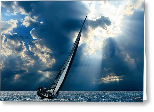 Sailing Boats At Sea , Photography , Greeting Card