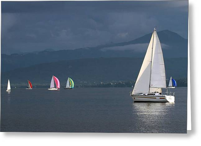 Sailing Boats By Stormy Weather, Geneva Lake, Switzerland Greeting Card