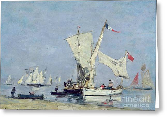 Sailing Boats Greeting Card by Eugene Louis Boudin