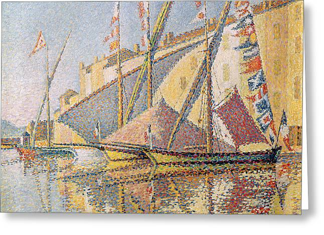 Sailing Boats In St Tropez Harbour, 1893  Greeting Card