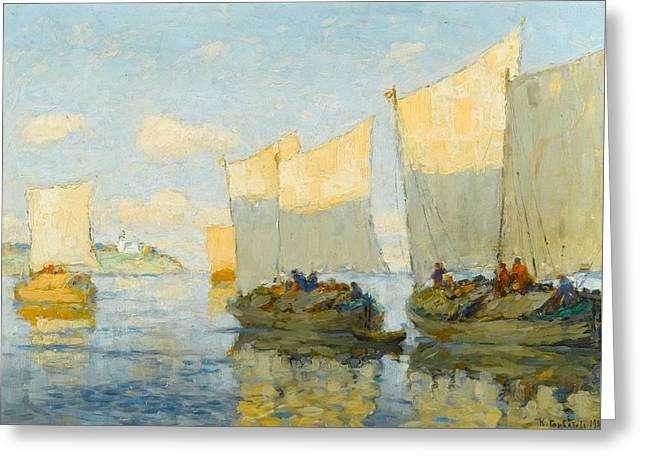 Sailing Boats On The Volga Greeting Card by Konstantin