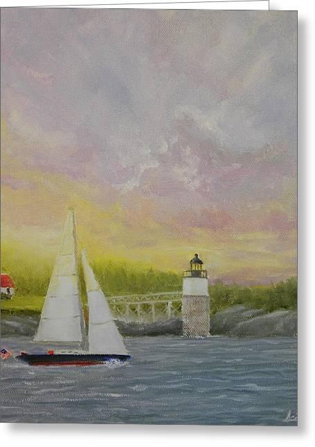 Sailing By Ram Island Greeting Card