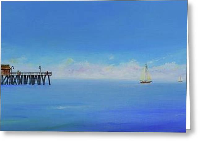 Greeting Card featuring the painting Sailing By San Clemente by Mary Scott