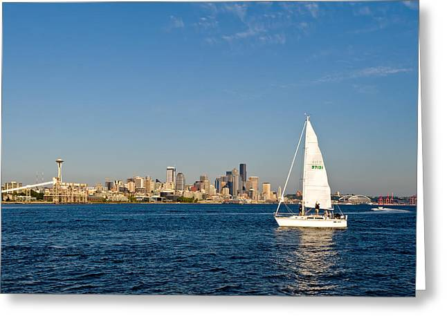 Sailing By Seattle Greeting Card by Tom Dowd