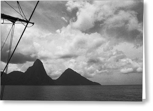 Sailing By The Pitons Greeting Card