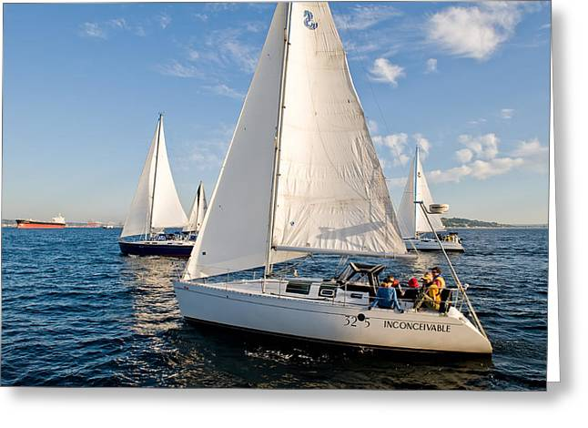 Sailing Crew Greeting Card by Tom Dowd