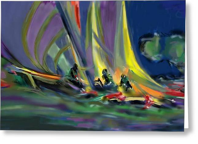 Greeting Card featuring the digital art Sailing by Darren Cannell