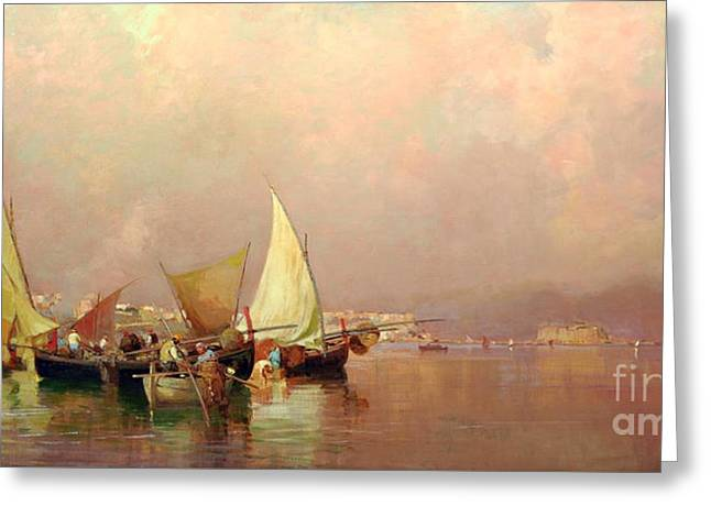 Greeting Card featuring the painting Sailing Fishermen Boats In Naples by Rosario Piazza