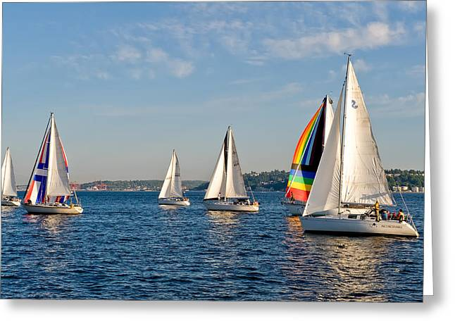 Sailing Group Seattle Greeting Card by Tom Dowd