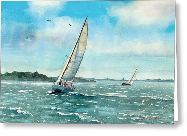 Sailing Harbor Islands Greeting Card
