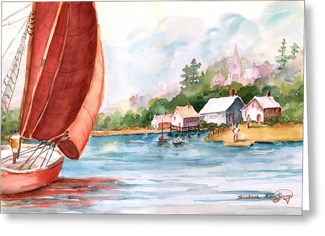 Shack Mixed Media Greeting Cards - Sailing Home Greeting Card by Barbara Jung