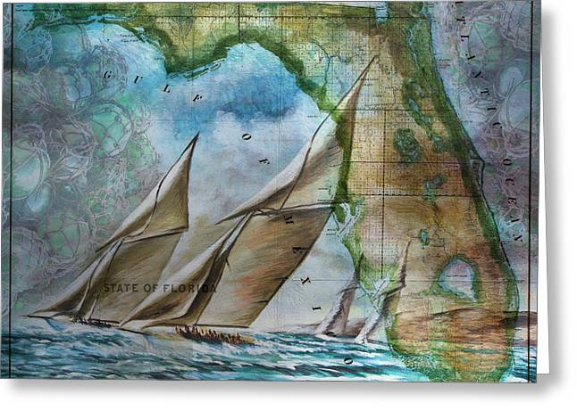 Sailing In Florida Antique Map Greeting Card