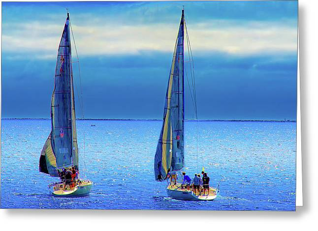 Sailing In The Blue Greeting Card