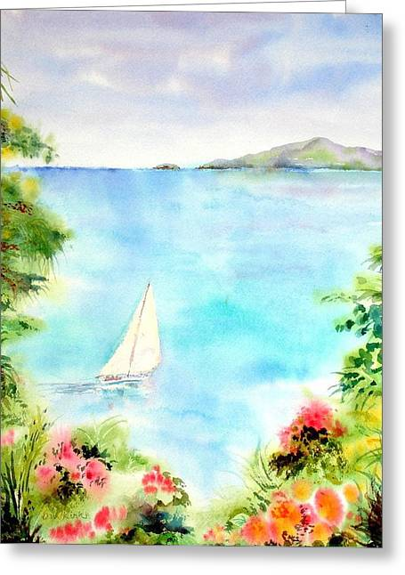 Sailing In The Caribbean Greeting Card